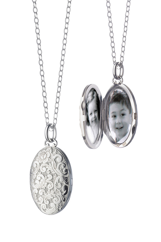 Sterling Silver Floral Locket Necklace