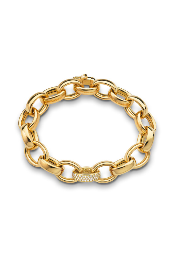 Monica Rich Kosann 18K Yellow Gold Diamond Marilyn Link Bracelet