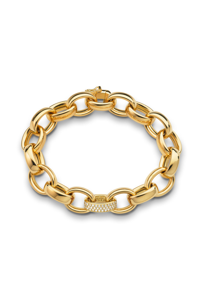 18K Yellow Gold Diamond Marilyn Link Bracelet