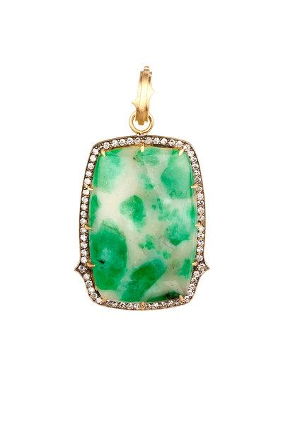 Sylva & Cie - 18K Yellow Gold Emerald & Diamond Pendant
