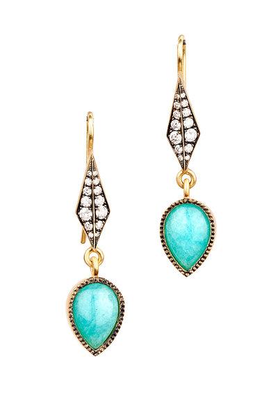 Sylva & Cie - 18K Yellow Gold Amazonite & Diamond Drop Earrings