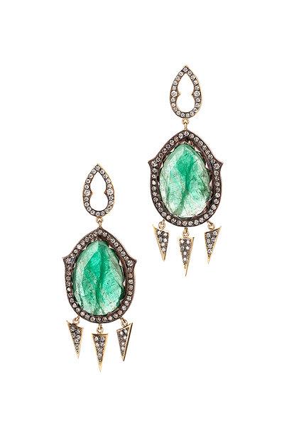 Sylva & Cie - 18K Gold & Silver Emerald & Diamond Gypsy Earrings