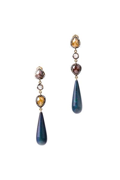 Sylva & Cie - 18K Yellow Gold Opal & Diamond Drop Earrings