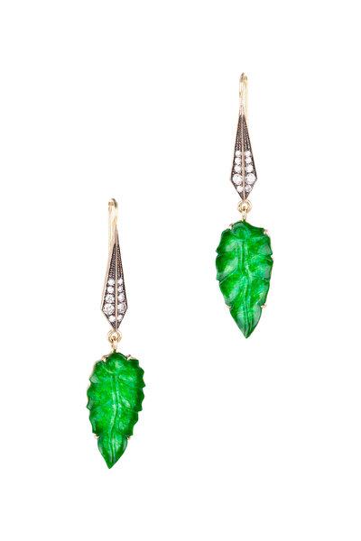 Sylva & Cie - Yellow Gold Jade Leaf Diamond Earrings