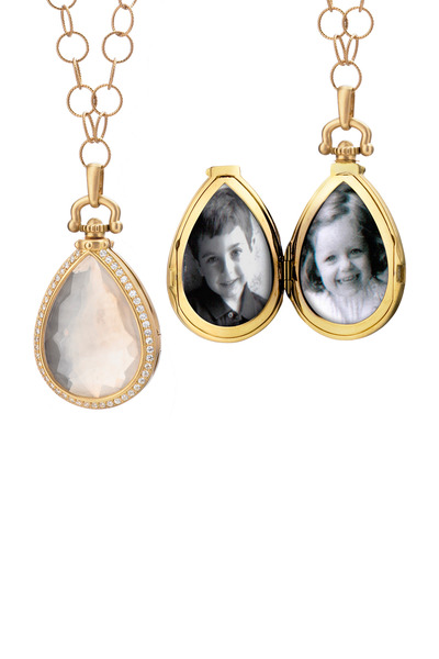 Monica Rich Kosann - Yellow Gold Teardrop Girasol Stone Diamond Locket