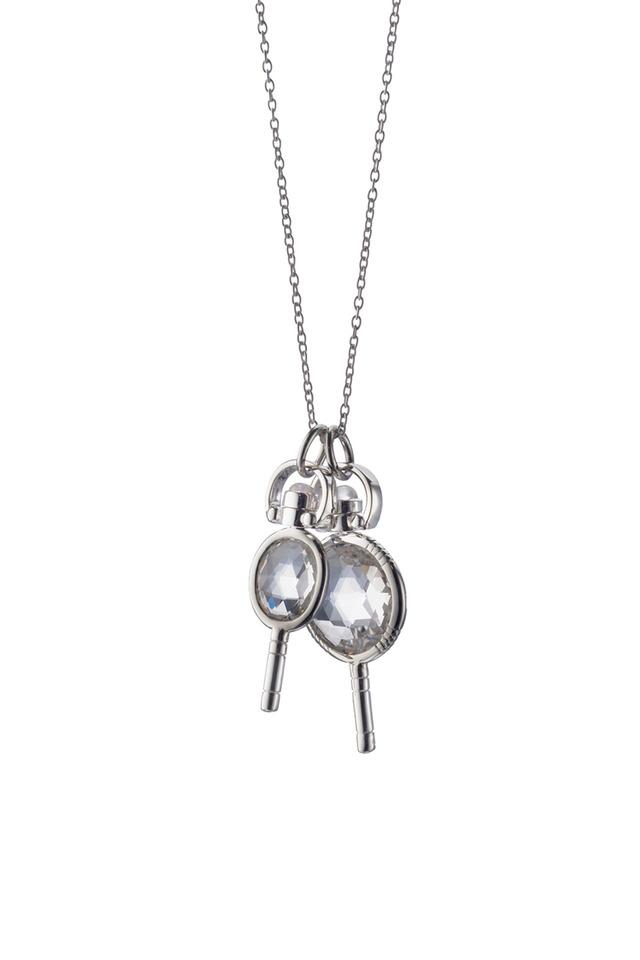 Sterling Silver Rock Crystal Keys Necklace