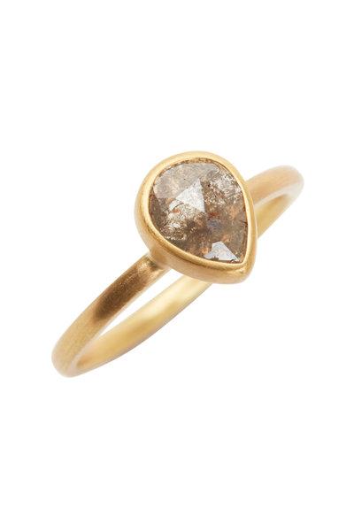 Caroline Ellen - 22K Yellow Gold Gray Taupe Diamond Ring