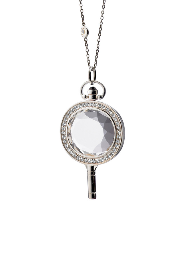 Sterling Silver Crystal & Sapphire Key Necklace