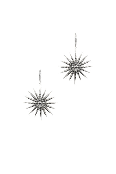 Bochic - White Gold Black Diamond Starburst Earrings