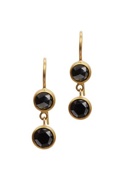 Caroline Ellen - 22K Yellow Gold Black Diamond Drop Earrings