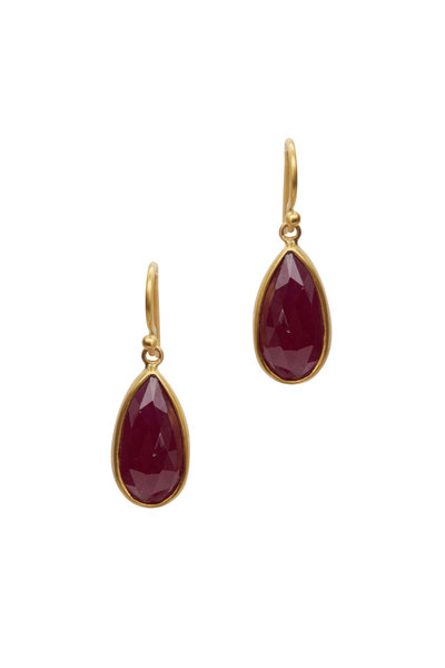 Caroline Ellen - 22K Yellow Gold Ruby Drop Earrings