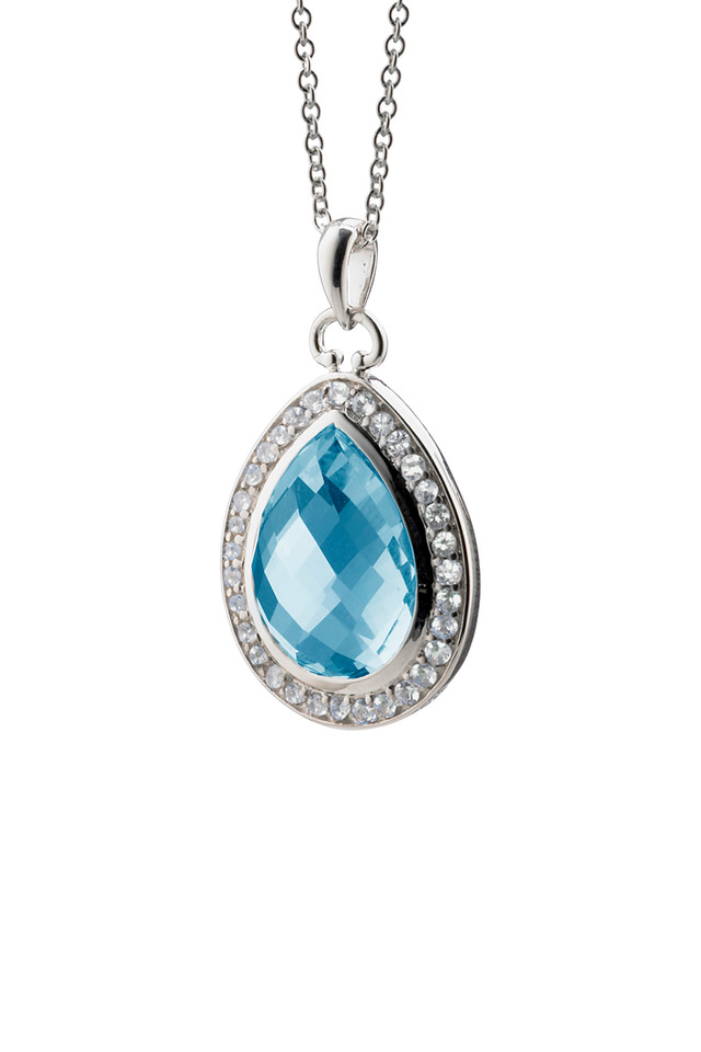 Sterling Silver Blue Topaz Teardrop Necklace