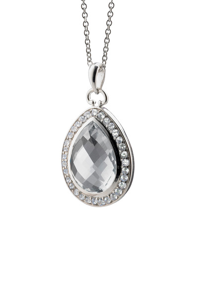 Monica Rich Kosann - Sterling Silver Teardrop Crystal Diamond Necklace
