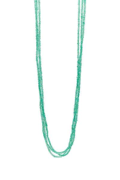 Caroline Ellen - 20K Yellow Gold Triple Strand Emerald Necklace