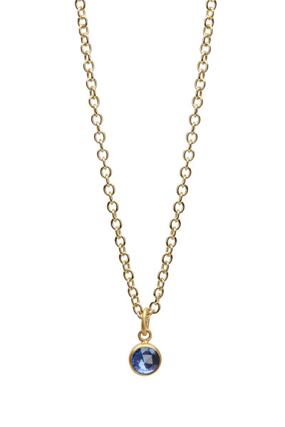 Caroline Ellen - 20K Yellow Gold Sapphire Pendant Necklace