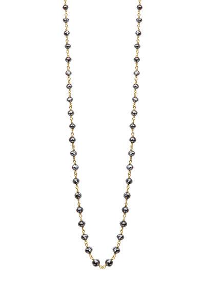 Caroline Ellen - 20K Yellow Gold Black Diamond Wrap Necklace