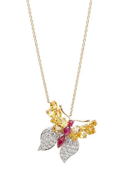 Oscar Heyman - 18K Gold Sapphire, Ruby & Diamond Necklace
