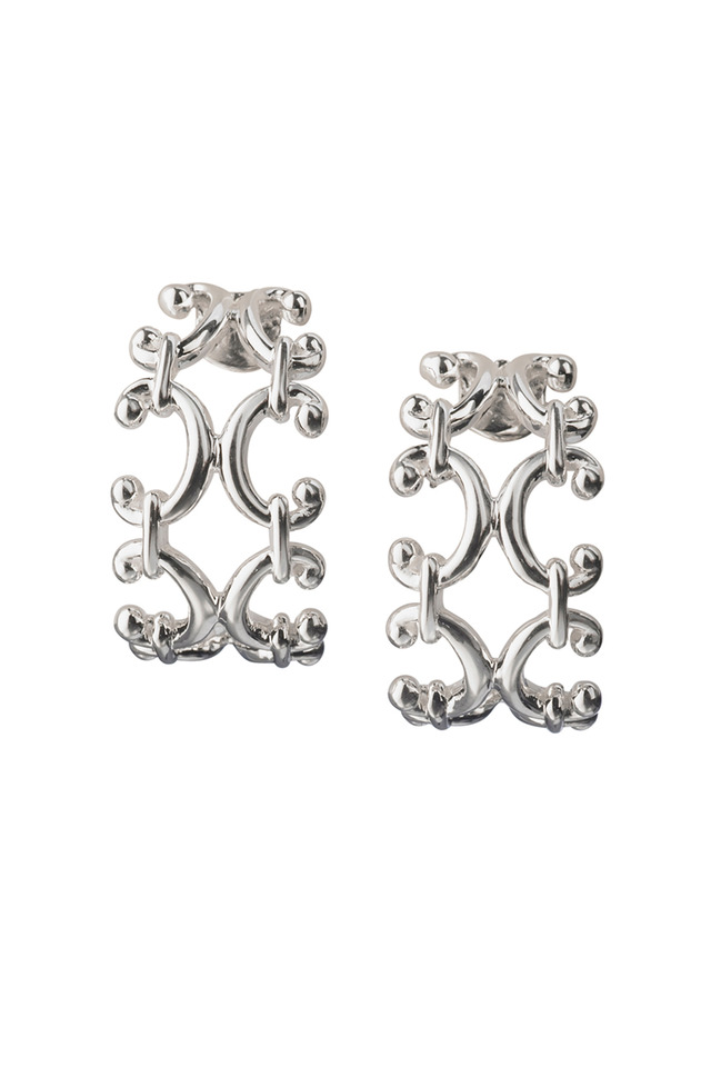 Sterling Silver Scroll Huggie Earrings