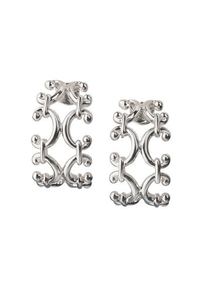 Monica Rich Kosann - Sterling Silver Scroll Huggie Earrings