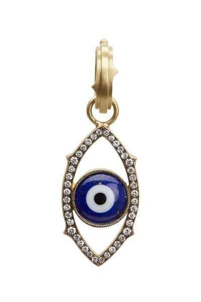 Sylva & Cie - Yellow Gold Lapis Diamond Evil Eye Pendant