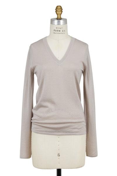 Brunello Cucinelli - Dove Cashmere & Silk V-Neck Sweater