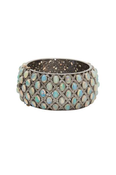Loren Jewels - 14K Gold & Silver Opal & Diamond Bangle