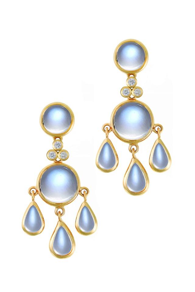 18K Yellow Gold Moonstone Fringe Diamond Earrings