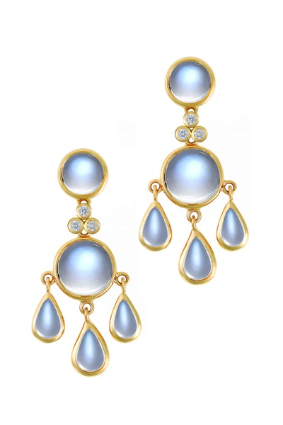 Temple St. Clair - 18K Yellow Gold Moonstone Fringe Diamond Earrings