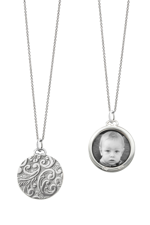 Sterling Silver Round Floral Case Necklace