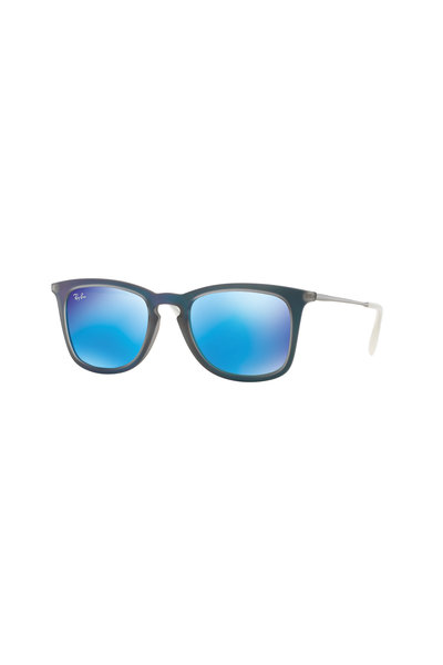 Ray Ban - Youngster Blue Rubberized Square Sunglasses