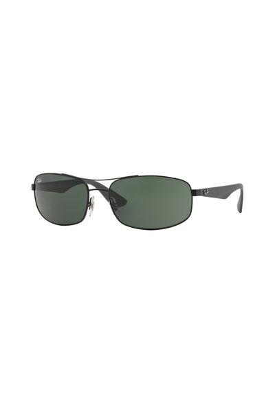 Ray Ban - Active Matte Black Metal Rectangle Sunglasses