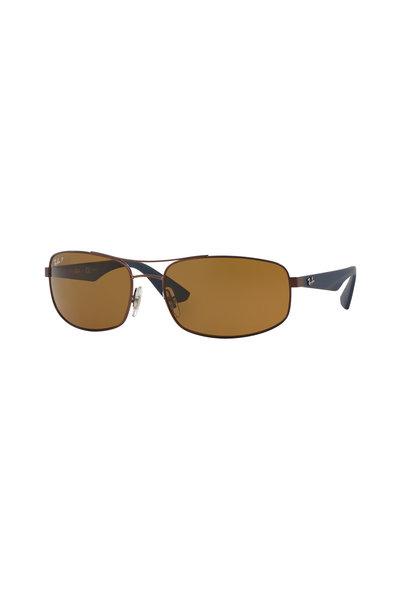 Ray Ban - Active Matte Dark Brown Polarized Metal Sunglasses