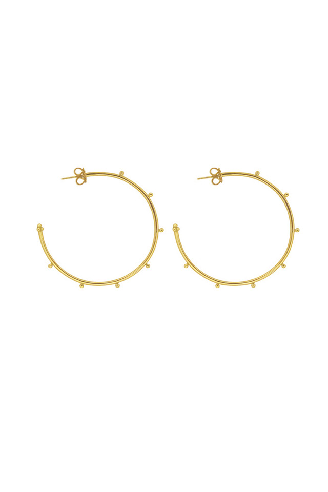 18K Yellow Gold Granulated Hoops