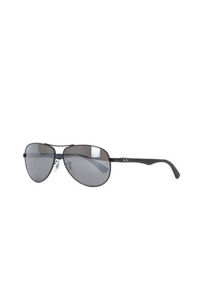 Ray Ban - Tech Shiny Black Polarized Aviator Sunglasses