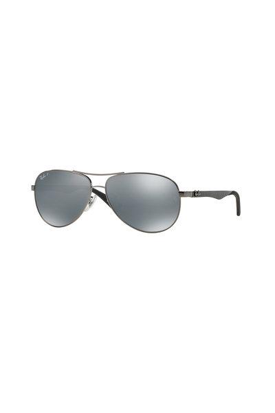 Ray Ban - Tech Shiny Gunmetal Polarized Aviator Sunglasses