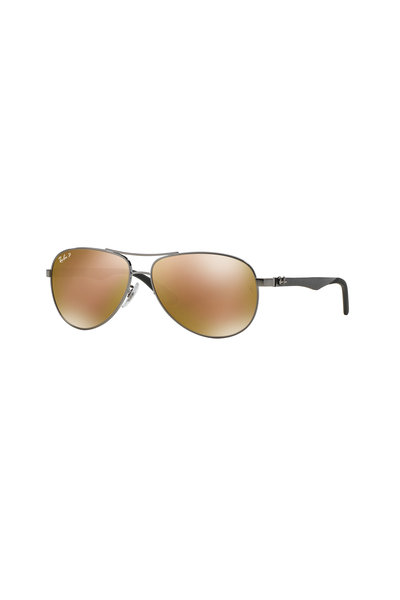 Ray Ban - Tech Shiny Gunmetal Polarized Aviator Sunglasses