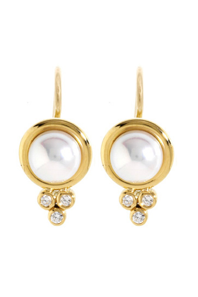 Yellow Gold Pearl Earring