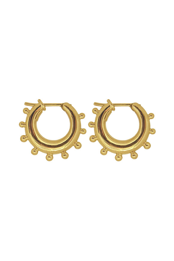 Temple St. Clair Yellow Gold Granulated Hoop Earrings