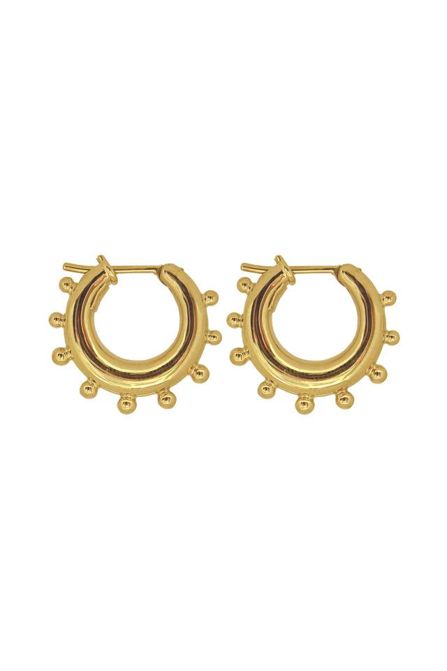 Yellow Gold Granulated Hoop Earrings