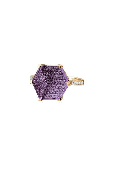 Paolo Costagli - Rose Gold Amethyst & Diamond Brilliante Ring