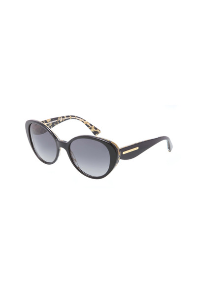 Dolce & Gabbana - Round Black Gold Leaf Sunglasses