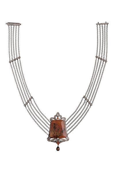 Bochic - White Gold Sapphire Agate Topaz Diamond Necklace
