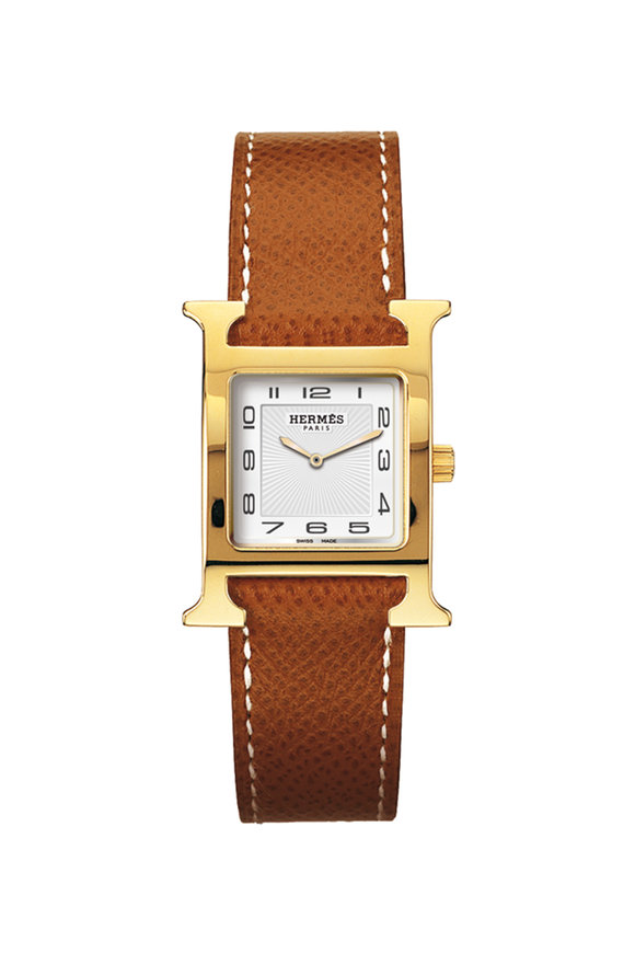 Hermès Heure H PM Gold Plated Watch, Small Model
