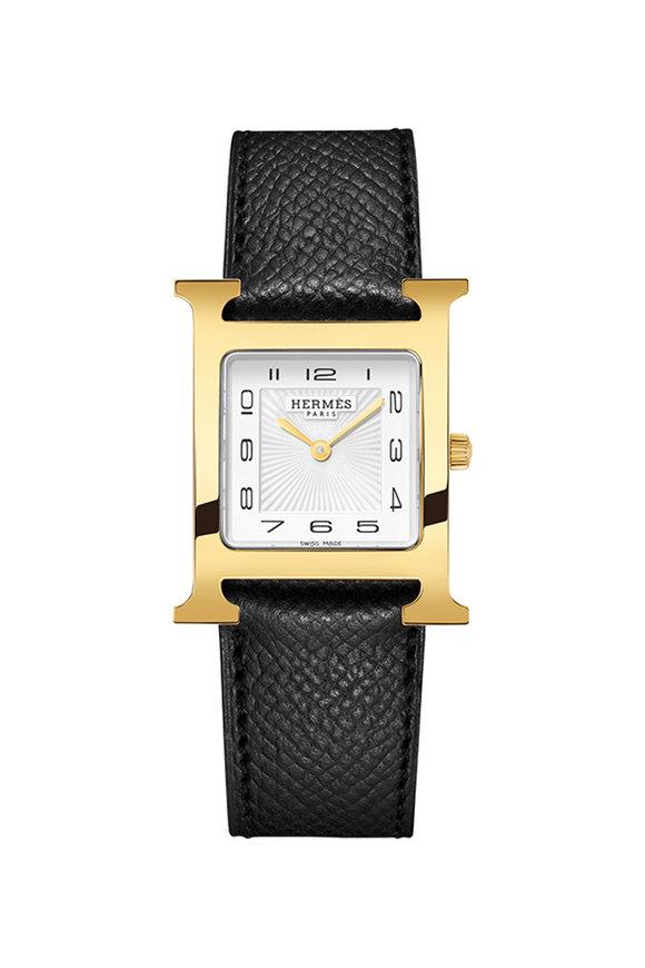 Hermès Heure H MM Gold Plated Watch, Medium Model