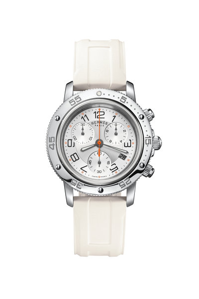 Hermès - White Dial Clipper Chrono Diver Watch
