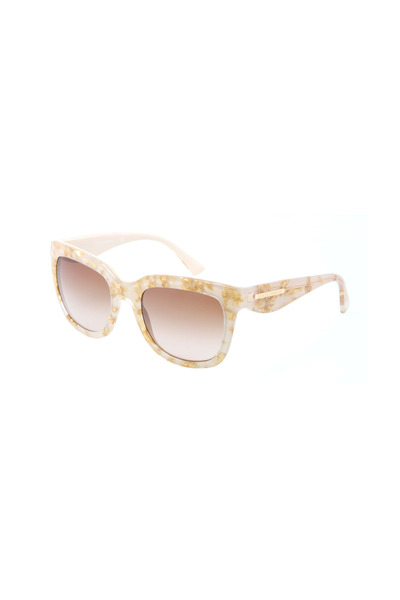 Dolce & Gabbana - Square Cream & Gold Leaf Sunglasses
