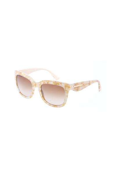 Dolce & Gabbana - Square Cream & Gold Leaf Sunglasses
