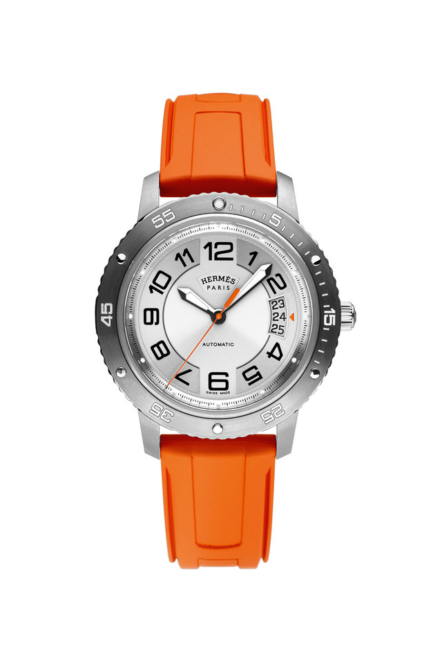 Orange Rubber Circle Face Watch