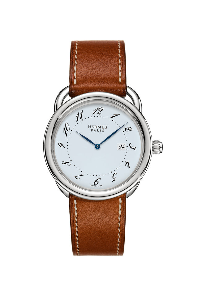 Brown Leather Circle Watch