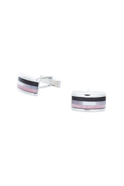 Baade II - Sterling Silver Optic Striped Cuff Links